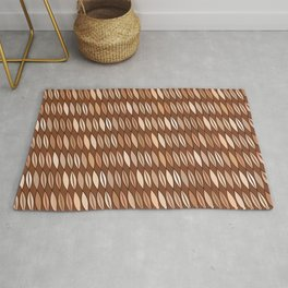 Mid Century Modern Leaves, Cocoa Brown and Beige Rug