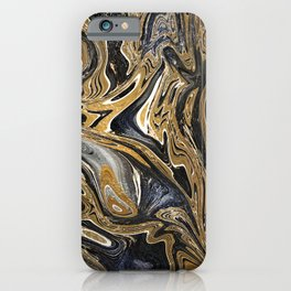 Black and Gold Liquid Marble iPhone Case