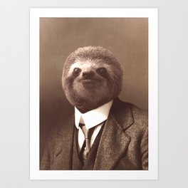 Gentleman Sloth in Sepia Tone Art Print