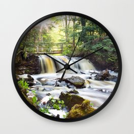 Upper Chapel Falls at Pictured Rocks National Lakeshore - Michigan Wall Clock