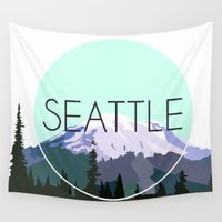 seattle Wall Tapestries featuring SEATTLE by Lauren Jane Peterson