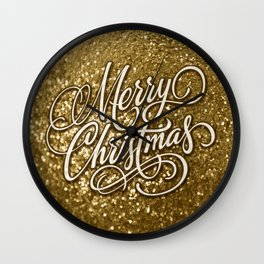 Glitter Gold Xmas Wall Clock
