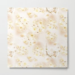 Lost in Antique White Flowers Metal Print