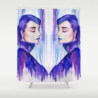 audrey hepburn Shower Curtains featuring Audrey Hepburn by Vivian Loh Arts