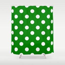 Polka Dots - White on Green Shower Curtain