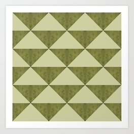 Geometric concrete guacamole shades triangles Art Print
