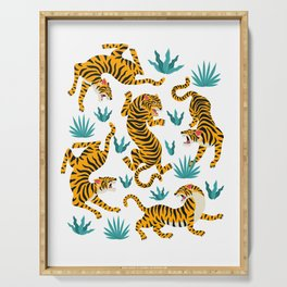 Asian tigers and tropic plants on background. Serving Tray