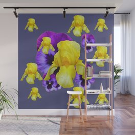 COLLAGE OF CHARCOAL GREY PURPLE PANSIES YELLOW IRIS Wall Mural
