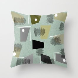 Mid-Century Modern Green Abstract Throw Pillow