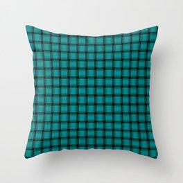 Small Dark Cyan Weave Throw Pillow
