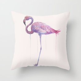 """Watercolor Painting of Picture """"Flamingo"""" Throw Pillow"""