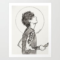 louis Art Prints featuring Louis by harrydoodles