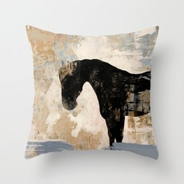 Modern Day Horse Throw Pillow