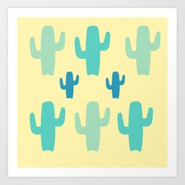 Green Cactus with Yellow Background Art Print