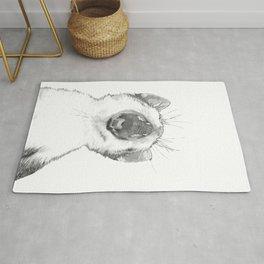 Black and White Sleepy Kitten Rug