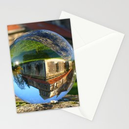 Church seen through glass ball Stationery Cards
