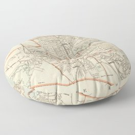 Vintage Map of Quincy MA (1907) Floor Pillow