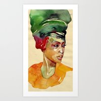 erykah badu Art Prints featuring Erykah by stefana