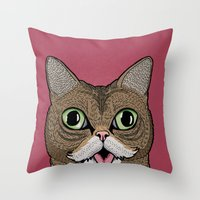 lil bub Throw Pillows featuring 'Lil Bub by Sydney Emery