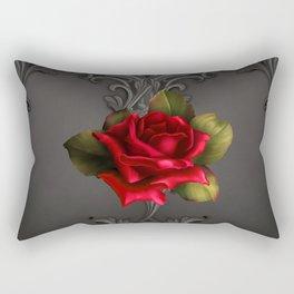 Gothic Glamour Red Rose Black Ornamental Glam Rectangular Pillow