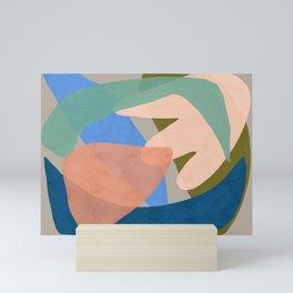 Shapes and Layers no.30 - Large Organic Shapes Blue Pink Green Gray Mini Art Print