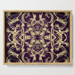 dark purple Digital pattern with circles and fractals artfully colored design for house and fashion Serving Tray