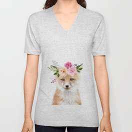Baby Fox with Flower Crown Unisex V-Neck