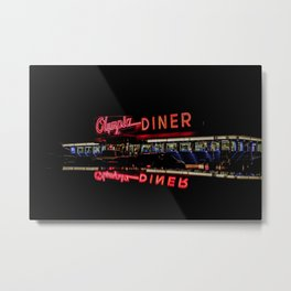 Olympia Diner Newington Connecticut Vintage Neon Stainless Steel Diner  Metal Print