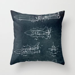 Space separated ship Throw Pillow