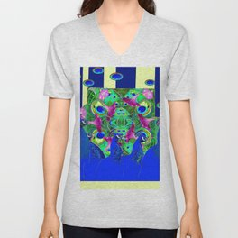 BLUE PEACOCKS & MORNING GLORIES PARALLEL YELLOW PATTERNED ART Unisex V-Neck