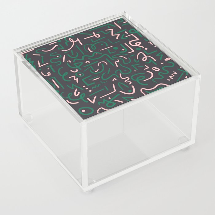Green and pink doodles Acrylic Box