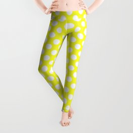 Yellow With Large White Polka Dots Leggings