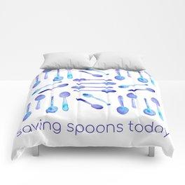 Saving Spoons Today (Purple Watercolor)! Comforters