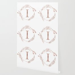 Letter I Rose Gold Pink Initial Monogram Wallpaper