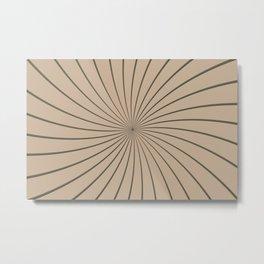 3D Pantone Hazelnut and Gray Thin Striped Circle Pinwheel Metal Print