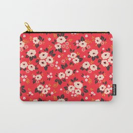 05 Ditsy floral pattern. Red background. White and pink flowers. Carry-All Pouch