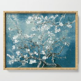Vincent Van Gogh Almond Blossoms Teal Serving Tray