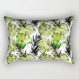 Watercolor monstera areca leaves illustration Rectangular Pillow
