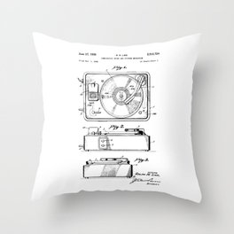 Turntable Patent Throw Pillow