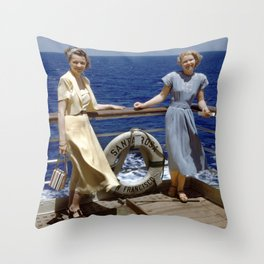 Two Ladies on an Ocean Cruise Throw Pillow