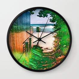 Hippie Beach View (Hippy / Hipster Waves of the Ocean) Wall Clock