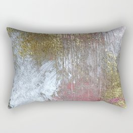 Golden Girl: a pretty abstract mixed media piece in pink, white, gold, and gray Rectangular Pillow