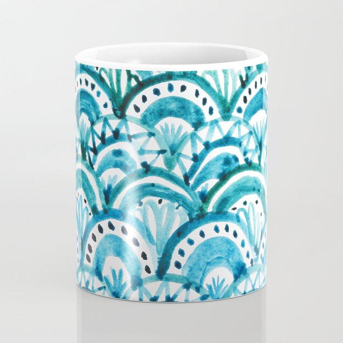Blue Watercolor Mermaid Pattern Coffee Mug