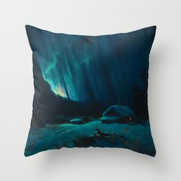Northern Lights - Aurora Borealis Snowy Night Winter Scene by Sydney Lawrence Throw Pillow
