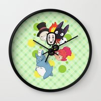 studio ghibli Wall Clocks featuring I ♥ Studio Ghibli by Lacis