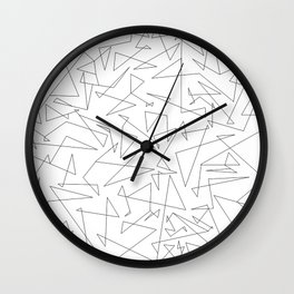 large black and white linear doodle Wall Clock