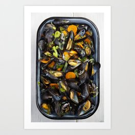 Cooked mussels Art Print