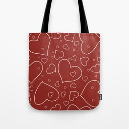 Red and White Hand Drawn Hearts Pattern Tote Bag