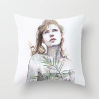 breathe Throw Pillows featuring Breathe in, breathe out by agnes-cecile