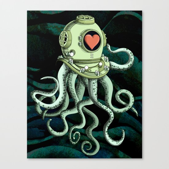 octopus diver in love Canvas Print